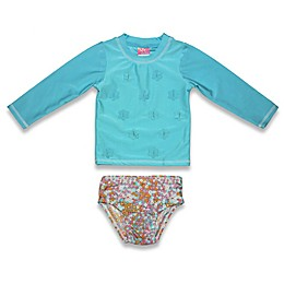 sol swim® 2-Piece Floral Long Sleeve Rashguard Set in Teal
