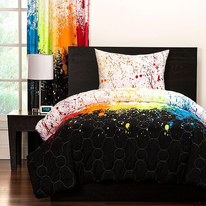 Alternate image 1 for Crayola® Cosmic Burst 3-Piece Reversible Full/Queen Comforter Set in Black
