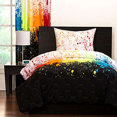 Crayola® Cosmic Burst Reversible Comforter Set in Black