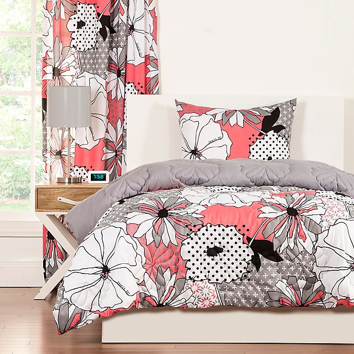 Alternate image 1 for Crayola® Flower Patch 3-Piece Reversible Full/Queen Comforter Set in Pink/Grey