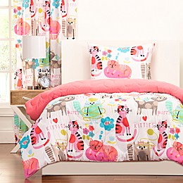 Crayola® Purrty Cat Reversible Comforter Set in Pink/White