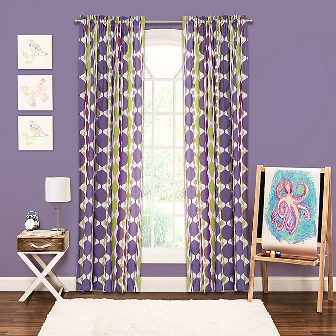 Alternate image 1 for Crayola® Bejeweled Rod Pocket 84-Inch Window Curtain Panel in Purple
