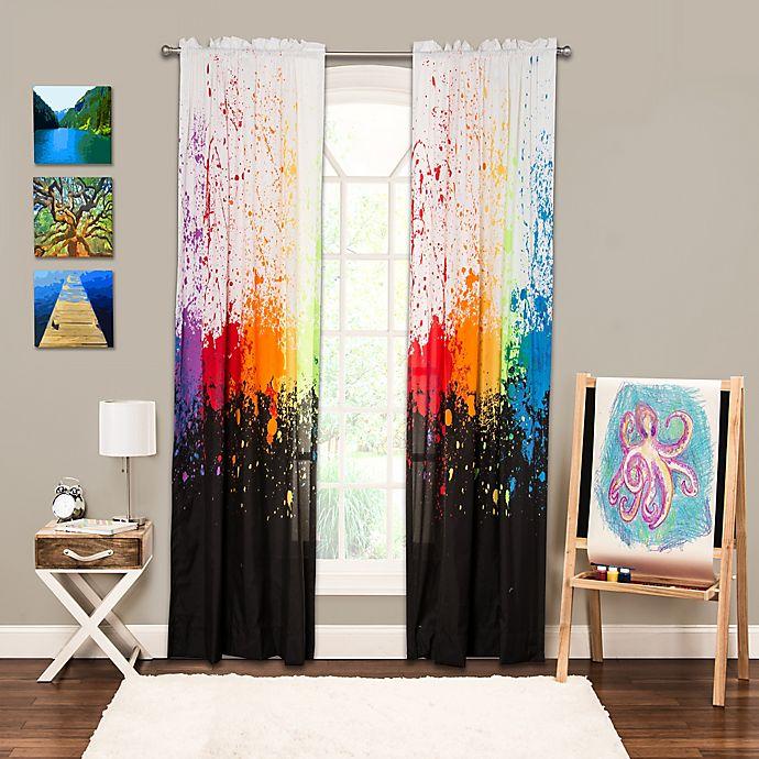 Alternate image 1 for Crayola® Cosmic Burst 84-Inch Rod Pocket Window Curtain Panel in Black