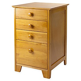 4-Drawer Wood File Cabinet with Honey Finish