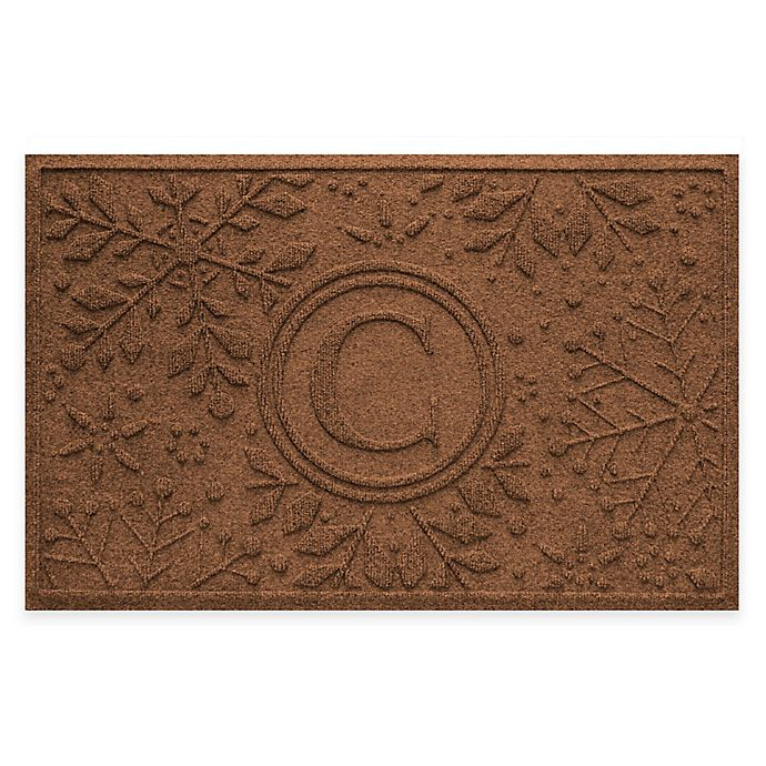 Alternate image 1 for Weather Guard™ Snowflake 23-Inch x 36-Inch Holiday Door Mat in Dark Brown