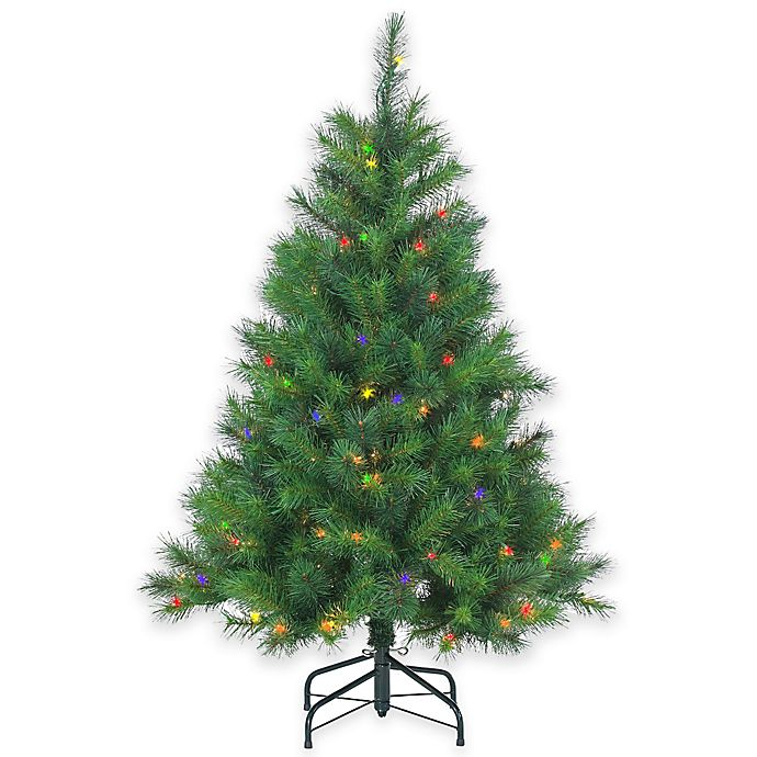 Multi Color Pre Lit Christmas Trees: Wisconsin Spruce 4.5-Foot Pre-Lit Christmas Tree With