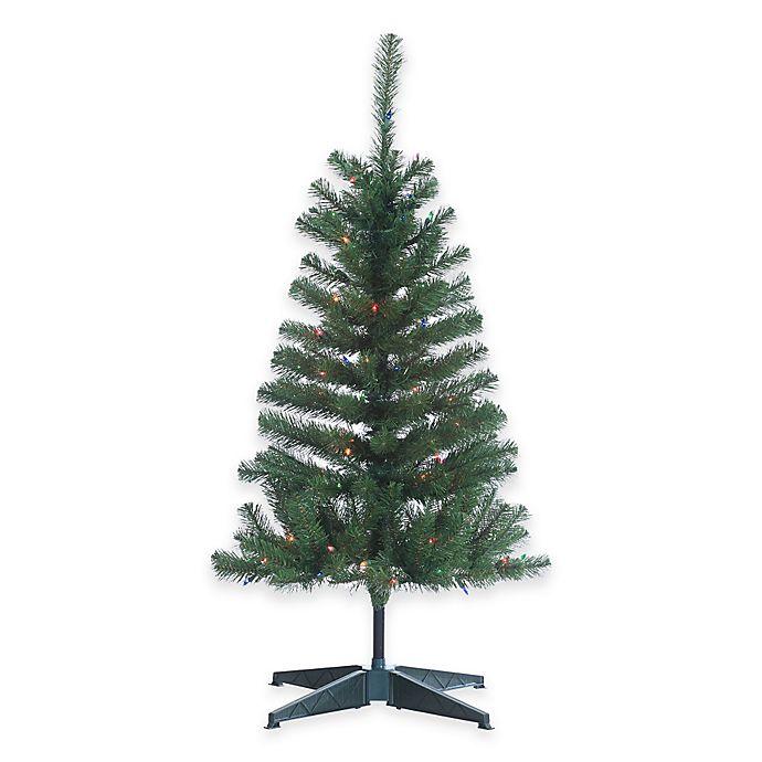 Multi Color Pre Lit Christmas Trees: Cumberland Pine 4-Foot Pre-Lit Christmas Tree With Multi
