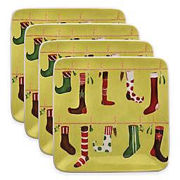 Boston International Crazy Christmas Stocking Square Plates (Set of 4)