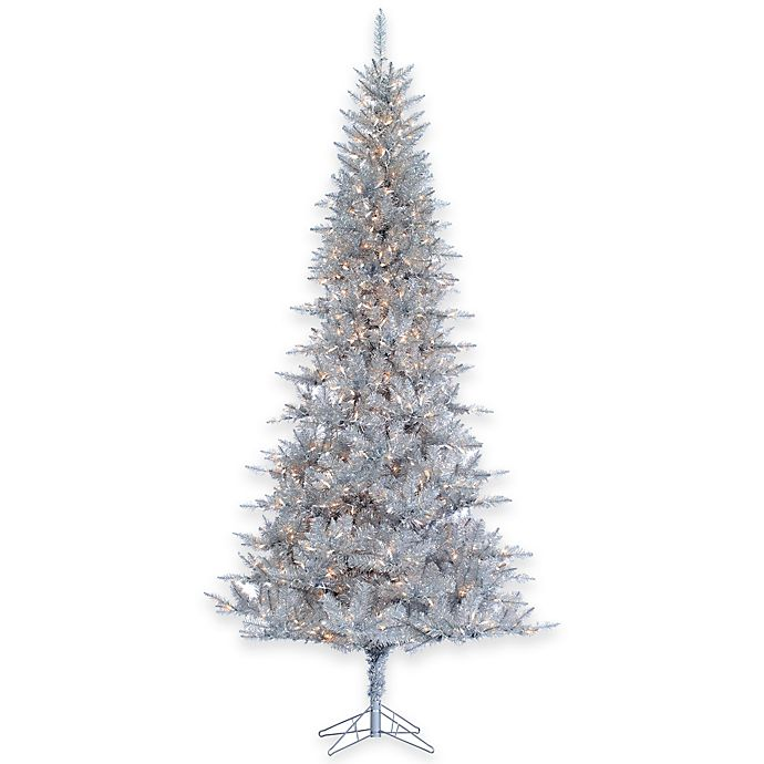 tiffany tinsel 9 foot pre lit christmas tree in silver with clear lights