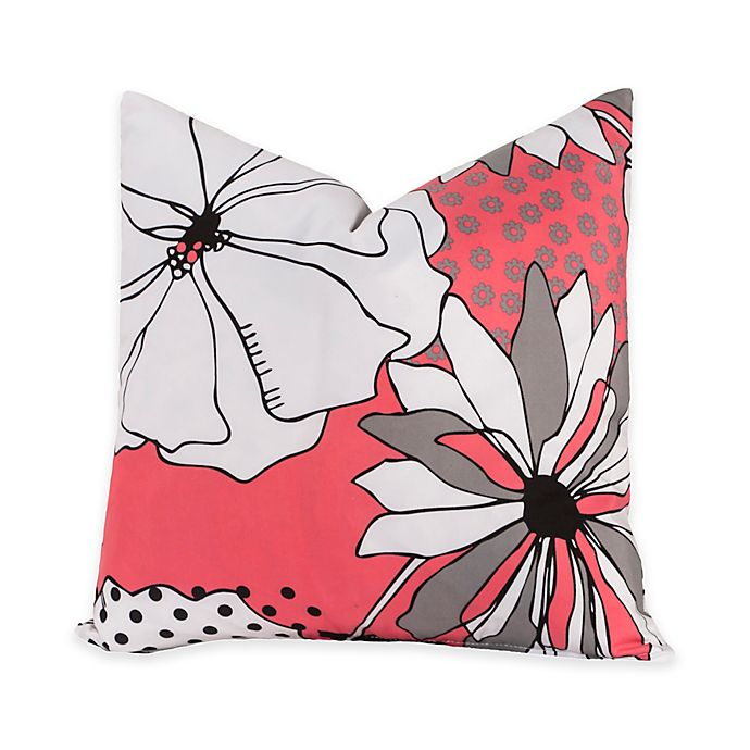 Alternate image 1 for Crayola® Flower Patch 16-Inch Square Throw Pillow in Pink/Grey