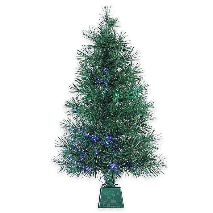 Christmas Tree Fiber Optic Lights: 3-Foot LED Fiber Optic Pre-Lit Christmas Tree With Multi