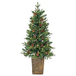Georgia Pin Pre-Lit Potted Christmas Trees with Pinecones