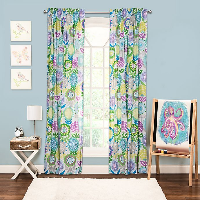 Alternate image 1 for Crayola® Pointillist Pansy 84-Inch Window Curtain Panel