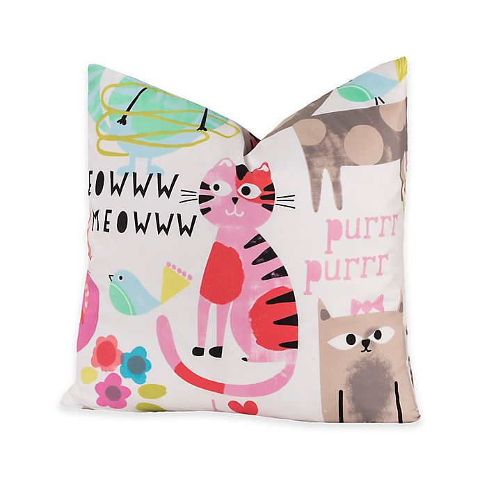 Alternate image 1 for Crayola® Purrty Cat 16-Inch Square Throw Pillow in Pink/White