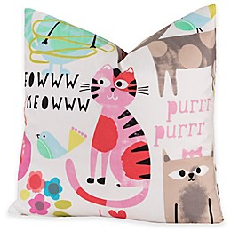 Crayola® Purrty Cat 26-Inch Square Throw Pillow in Pink/White