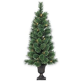 Deluxe Cashmere Pine Pre-Lit Potted Christmas Tree with Decorative Urn and Clear Lights