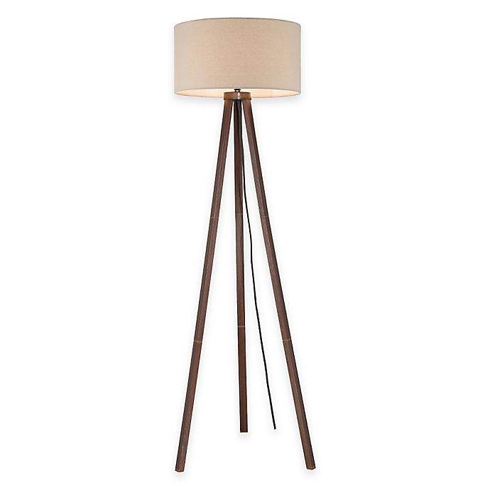 Alternate image 1 for Tripod Floor Lamp in Walnut with Linen Shade
