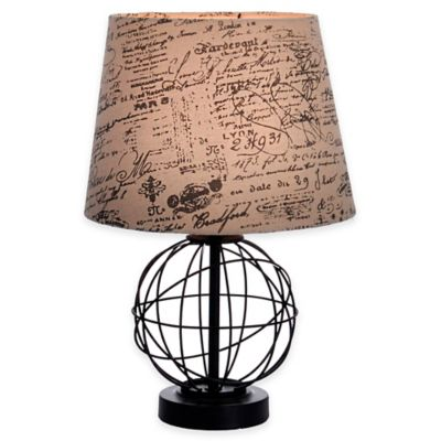 Globe Accent Lamp In Black With Tan Script Shade Bed