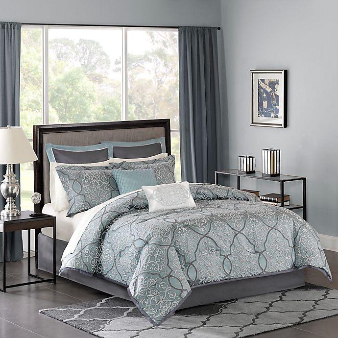 Alternate image 1 for Madison Park Lavine Queen Comforter Set in Blue