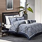 Madison Park Medina 8-Piece Queen Comforter Set in Navy