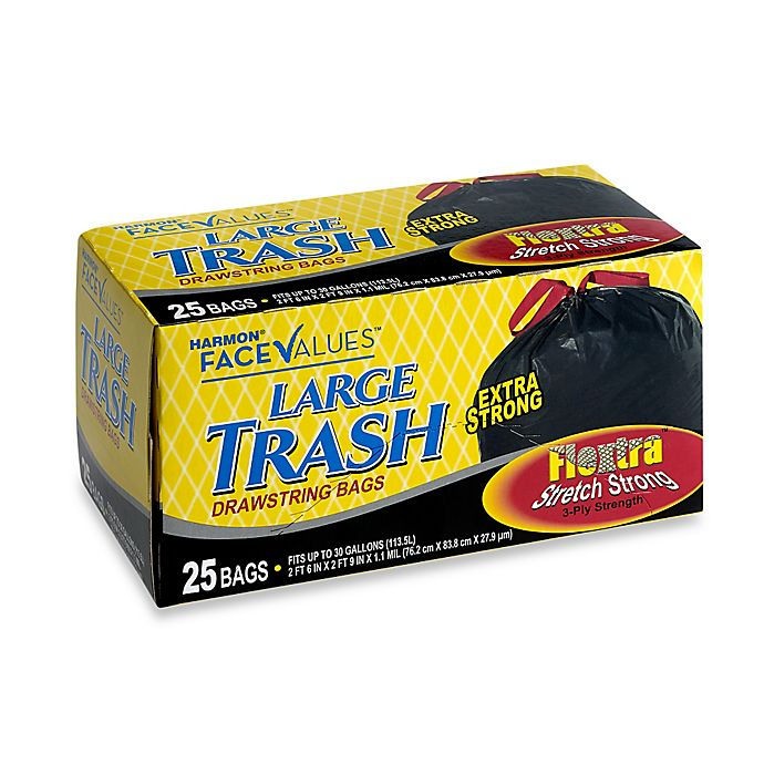 Alternate image 1 for Harmon® Face Values™ 25-Count 30 Gallon Large Trash Drawstring Bags