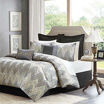 Madison Park Paxton 12-Piece Comforter Set in Grey