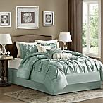 Madison Park Laurel 7-Piece Queen Comforter Set in Seafoam