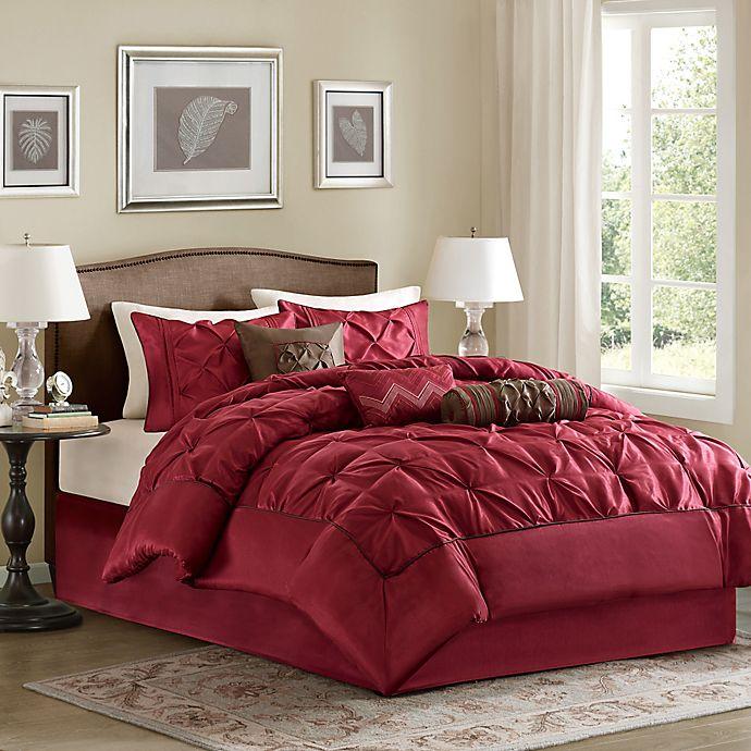 Alternate image 1 for Madison Park Laurel 7-Piece Queen Comforter Set in Red