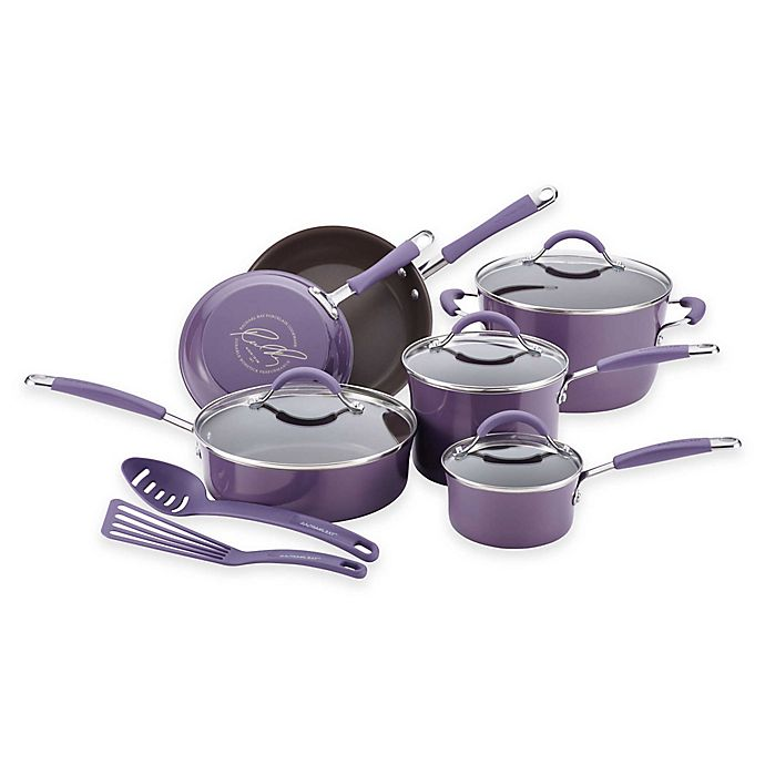 Alternate image 1 for Rachael Ray™ Cucina Hard Enamel Nonstick 12-Piece Cookware Set in Lavender