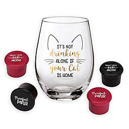 Lillian Rose™ Cat Stemless Wine Glasses with 4 Wine Stoppers (Set of 5)
