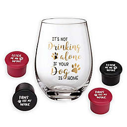 Lillian Rose™ Dog Stemless Wine Glasses with 4 Wine Stoppers (Set of 5)