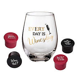 Lillian Rose™ Wine Lover Stemless Wine Glasses with Wine Stoppers (Set of 5)