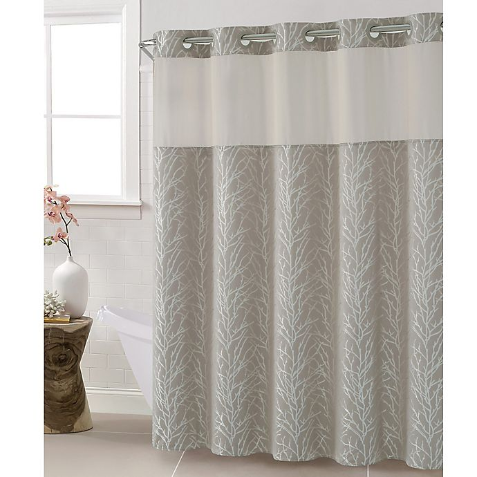 Hookless Jacquard Tree Branch Shower Curtain In Taupe Bed Bath
