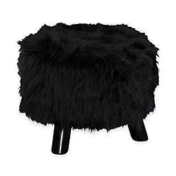 Faux Flokati 16-Inch Round Foot Stool