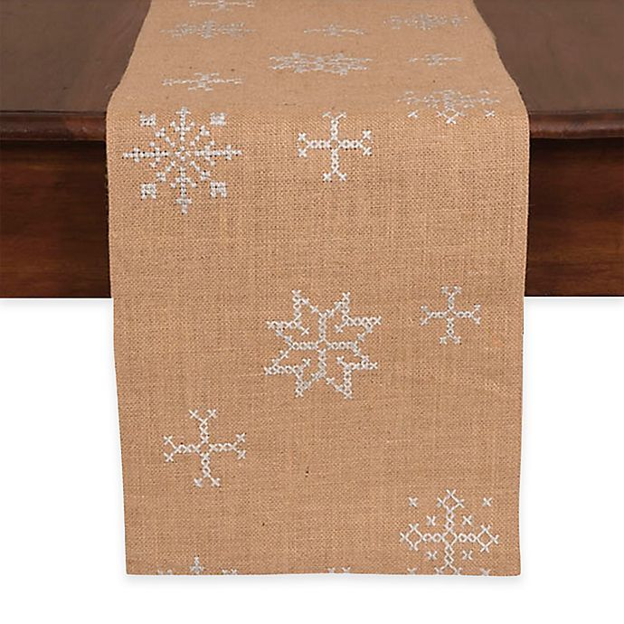 Alternate image 1 for Jute Embroidered Snowflake 72-Inch Table Runner