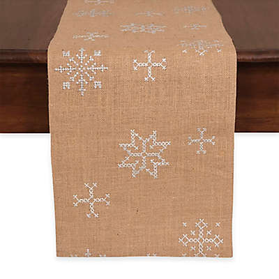 Jute Embroidered Snowflake 72-Inch Table Runner
