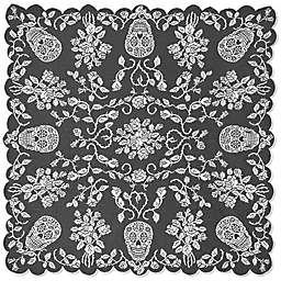 Heritage Lace Sugar Skulls Table Topper in Pewter