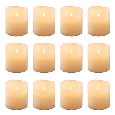 Flickering Battery-Operated Votive Candles in Amber (Set of 12)