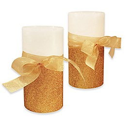 Gold Bow Flameless LED Candless with Timer  (Set of 2)