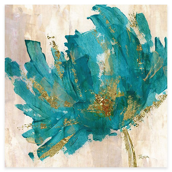 Alternate image 1 for Courtside Market Contemporary Teal Flower I Canvas Wall Art