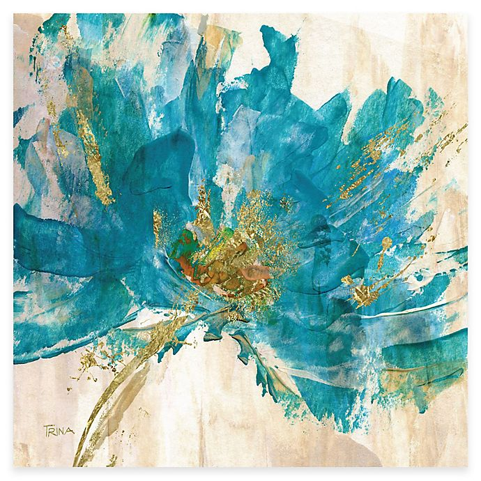 Alternate image 1 for Courtside Market Contemporary Teal Flower II Canvas Wall Art