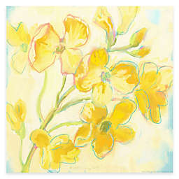 Courtside Market Yellow Flower and Blue 16-Inch x 16-Inch Canvas Wall Art