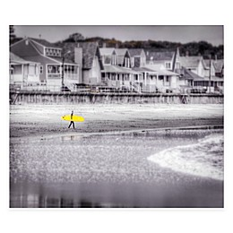 Courtside Market Black and White Longboard Canvas Wall Art