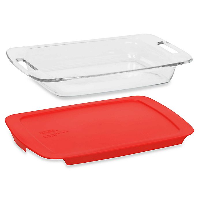 Alternate image 1 for Pyrex® Easy Grab™ 3-Quart Oblong Glass Baking Dish with Red Plastic Cover