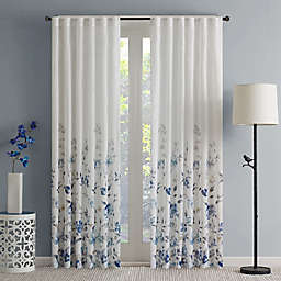 Regency Heights Regency Heights Isla Floral Sheer 108-Inch Rod Pocket Window Curtain Panel in Blue