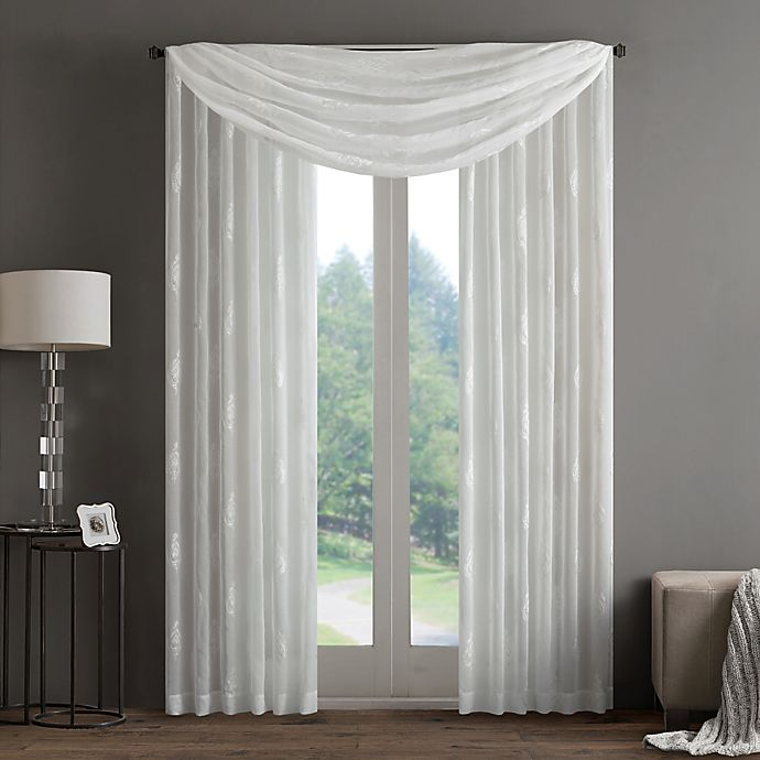 Alternate image 1 for Regency Heights Aria Stamp Sheer Window Scarf Valance in White