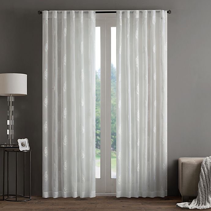 Alternate image 1 for Regency Heights Aria Stamp Sheer Rod Pocket Window Curtain Panel
