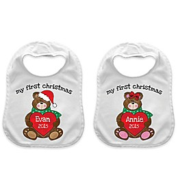 """My First Christmas"" Heart Bear Bib in White/Red"
