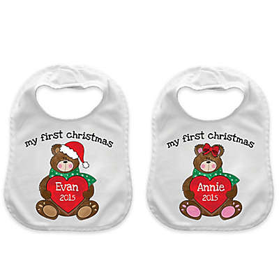 """""""My First Christmas"""" Heart Bear Bib in White/Red"""