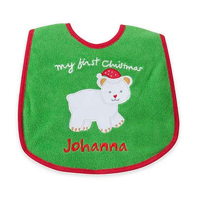 """My First Christmas"" Polar Bear Bib in Green/Red"